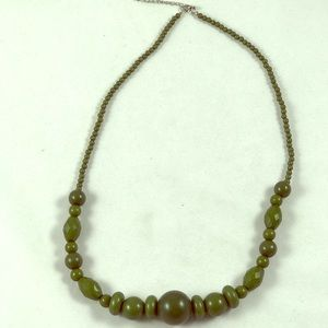 Olive green long wood bead necklace